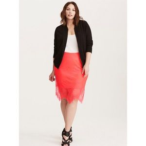 Torrid Lace Pencil Skirt Neon Coral Scallop, 3X